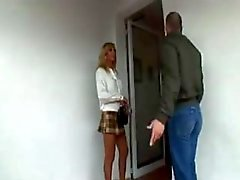 Busty blonde tranny fucks in pantyhose