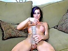 Busty Hot Shemale Strokes Her Big Cock on Cam