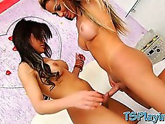 Two sexy trannies Bruna and Julianna hardcore anal fucking