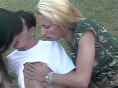 Brazilian dude fucking a tranny and a female