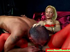 Euro shemale has her cock sucked on