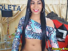 Brunette Colombian Trans Stiffed Cock Fapping