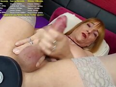 Busty Shemale Masturbate her Big Cock