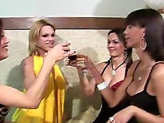 TS girlfriends anal fucking while drinking wine in foursome