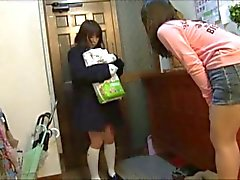 girl holding diaper package