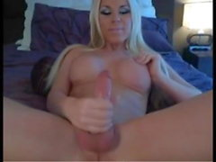 Busty blonde shemale solo