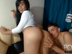 Latina tranny rewards guy for ass eating talents