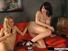 Nicki Blue plays with Shemale Sarina Valentina