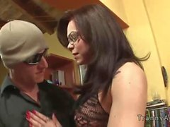 Cable guy fucked by tranny in glasses