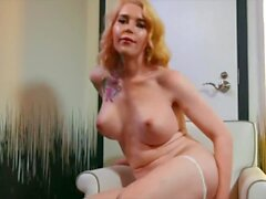 'Transangels - Small tit blonde Trans Gracie plays with herself solo'