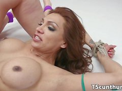 Dominated wrestling TS cumdrops in babe mouth