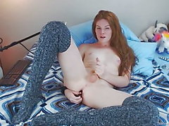redhead cums hard wearing knee high socks by Melody Lane