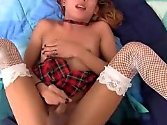 Sweety shemale in white stockings doing oral