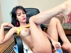 Amateur Webcam Tgirl Toying Wanking