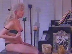 Vintage blonde jerking off near the piano