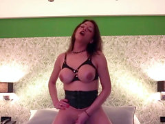 Tgirl jerks and jizzes