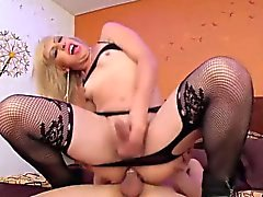 Naughty shemale invites the dude to bang her butt shitless