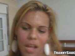 Sexy busty tranny vixen playing with her cock
