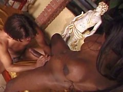 Busty ebony shemale seduce and fuck a brunette guy