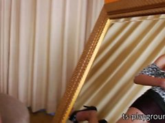 Ladyboy stunner Chanel fires lots of cum all over the mirror