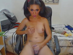 Shemale Babe Masturbating WIth Toy