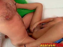 Busty tranny Paola gets pounded hard by handsome Axel Ray