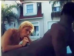 Interracial fuck poolside