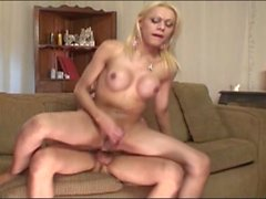 Sexy and busty shemale doll gets her ass fucked
