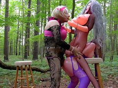 sissy erotic all day outdoor play with 2 sweet blowup doll babes PART 13
