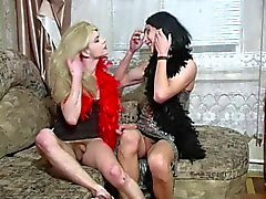 A pair of crossdressers seduce a guy part 1 of 5