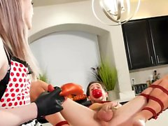 TRANSEROTICA Restrained Guy Fisted Hard By Cute Shemale