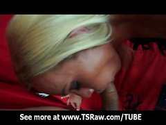Blonde Latina Shemale Deep Throat Blowjob
