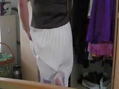 crossdress white Skirt masturbating