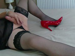 mature crossdresser tvrose plays with her hard cock