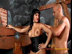 Busty tranny hottie Foxxy makes a stud lick her latex boots